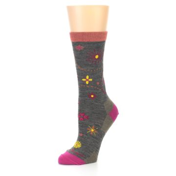 Image of Taupe Garden Floral Wool Women's Socks (side-2-09)