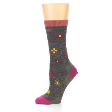 Image of Taupe Garden Floral Wool Women's Socks (side-2-10)