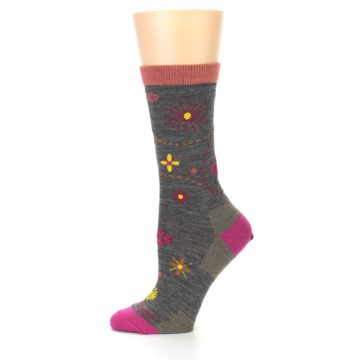 Image of Taupe Garden Floral Wool Women's Socks (side-2-11)