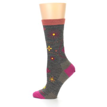 Image of Taupe Garden Floral Wool Women's Socks (side-2-12)