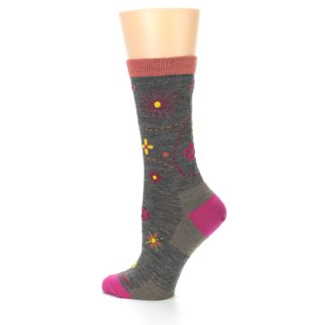 Image of Taupe Garden Floral Wool Women's Socks (side-2-13)