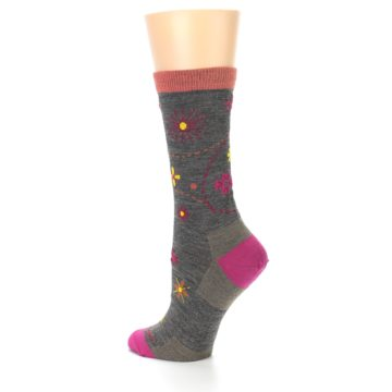 Image of Taupe Garden Floral Wool Women's Socks (side-2-back-14)