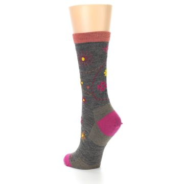 Image of Taupe Garden Floral Wool Women's Socks (side-2-back-15)