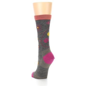 Image of Taupe Garden Floral Wool Women's Socks (side-2-back-16)