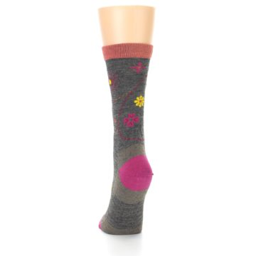Image of Taupe Garden Floral Wool Women's Socks (back-17)