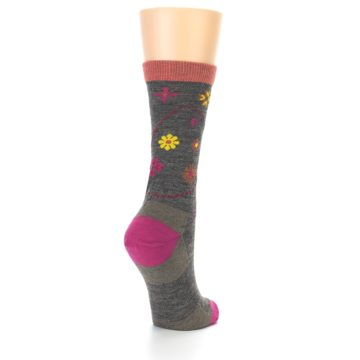 Image of Taupe Garden Floral Wool Women's Socks (side-1-back-21)