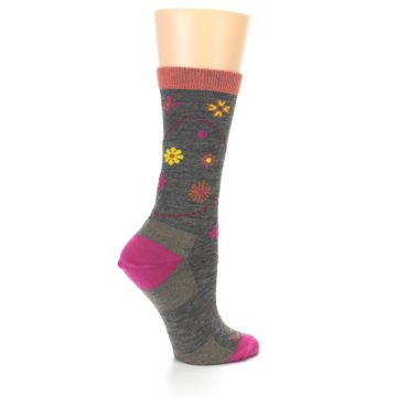 Image of Taupe Garden Floral Wool Women's Socks (side-1-23)