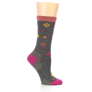 Image of Taupe Garden Floral Wool Women's Socks (side-1-25)