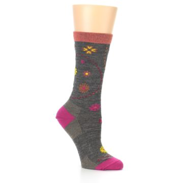 Image of Taupe Garden Floral Wool Women's Socks (side-1-26)
