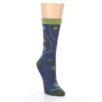 Image of Denim Blue Garden Floral Wool Women's Socks (side-1-front-02)