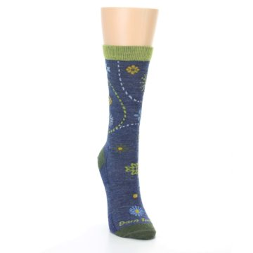 Image of Denim Blue Garden Floral Wool Women's Socks (side-1-front-03)