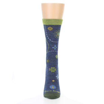 Image of Denim Blue Garden Floral Wool Women's Socks (front-05)