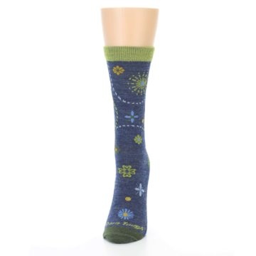Image of Denim Blue Garden Floral Wool Women's Socks (side-2-front-06)