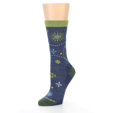 Image of Denim Blue Garden Floral Wool Women's Socks (side-2-09)
