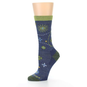 Image of Denim Blue Garden Floral Wool Women's Socks (side-2-10)