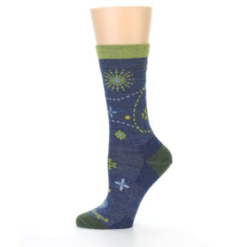 Image of Denim Blue Garden Floral Wool Women's Socks (side-2-11)