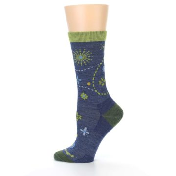 Image of Denim Blue Garden Floral Wool Women's Socks (side-2-12)