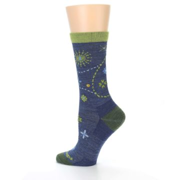 Image of Denim Blue Garden Floral Wool Women's Socks (side-2-13)