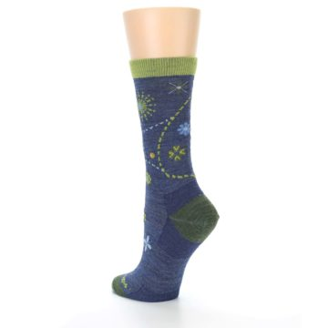 Image of Denim Blue Garden Floral Wool Women's Socks (side-2-back-15)