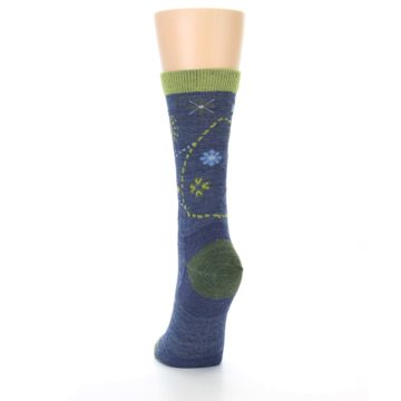 Image of Denim Blue Garden Floral Wool Women's Socks (back-17)