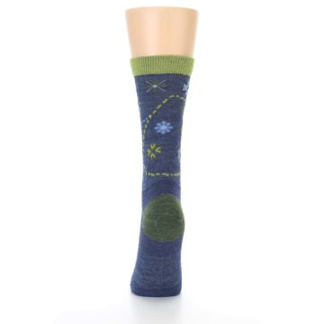 Image of Denim Blue Garden Floral Wool Women's Socks (back-18)