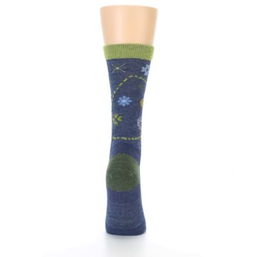 Image of Denim Blue Garden Floral Wool Women's Socks (back-19)