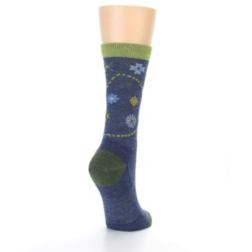 Image of Denim Blue Garden Floral Wool Women's Socks (side-1-back-21)
