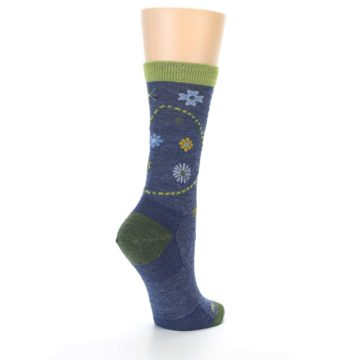 Image of Denim Blue Garden Floral Wool Women's Socks (side-1-back-22)