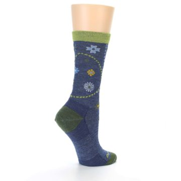 Image of Denim Blue Garden Floral Wool Women's Socks (side-1-23)