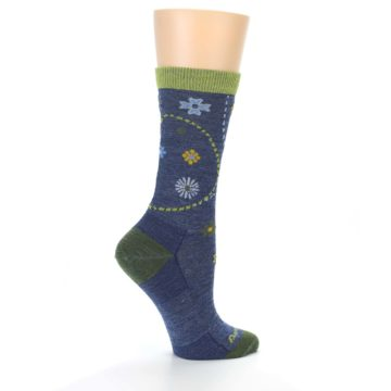 Image of Denim Blue Garden Floral Wool Women's Socks (side-1-24)