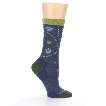Image of Denim Blue Garden Floral Wool Women's Socks (side-1-25)