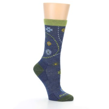 Image of Denim Blue Garden Floral Wool Women's Socks (side-1-26)