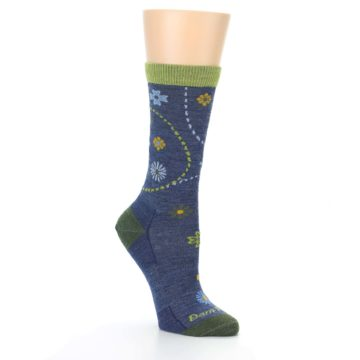 Image of Denim Blue Garden Floral Wool Women's Socks (side-1-27)