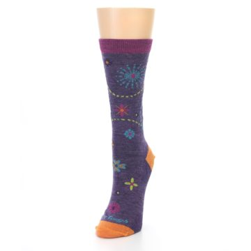 Image of Plum Purple Garden Floral Wool Women's Socks (side-2-front-07)