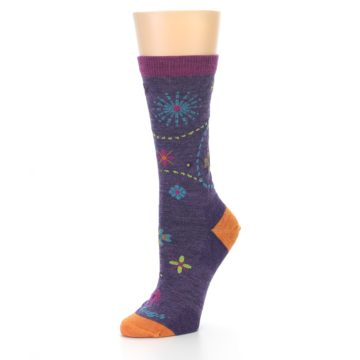 Image of Plum Purple Garden Floral Wool Women's Socks (side-2-09)