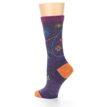Image of Plum Purple Garden Floral Wool Women's Socks (side-2-back-14)