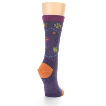 Image of Plum Purple Garden Floral Wool Women's Socks (side-1-back-21)