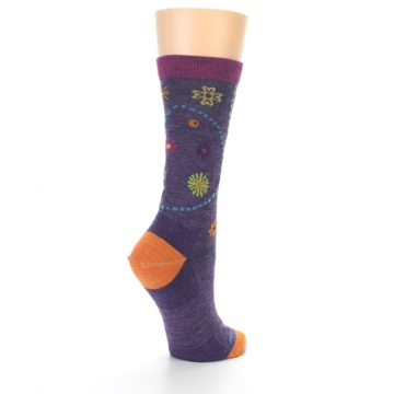 Image of Plum Purple Garden Floral Wool Women's Socks (side-1-back-22)