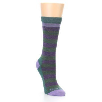 Image of Plum Green Stripe Wool Women's Socks (side-1-front-02)