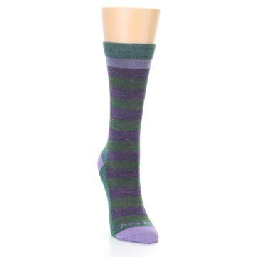Image of Plum Green Stripe Wool Women's Socks (side-1-front-03)