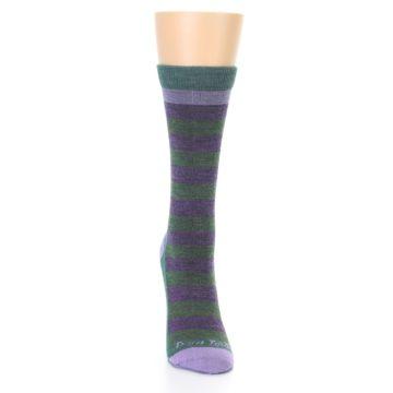 Image of Plum Green Stripe Wool Women's Socks (front-04)