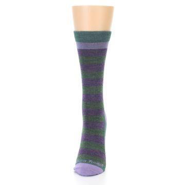Image of Plum Green Stripe Wool Women's Socks (side-2-front-06)