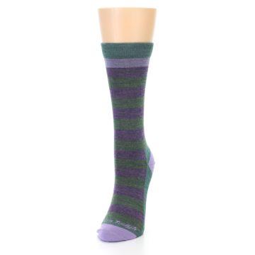 Image of Plum Green Stripe Wool Women's Socks (side-2-front-07)
