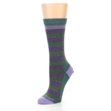 Image of Plum Green Stripe Wool Women's Socks (side-2-09)