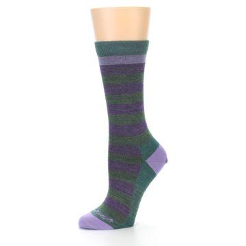 Image of Plum Green Stripe Wool Women's Socks (side-2-10)