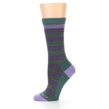 Image of Plum Green Stripe Wool Women's Socks (side-2-11)