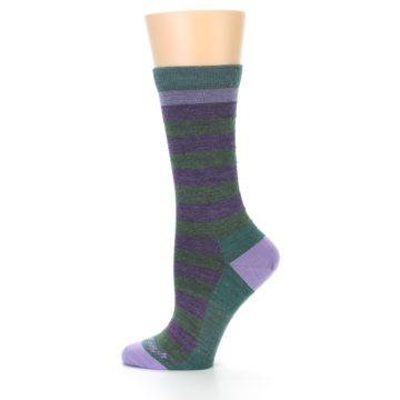 Image of Plum Green Stripe Wool Women's Socks (side-2-12)