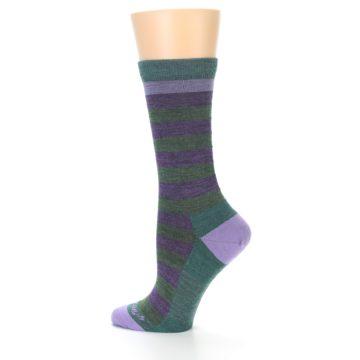 Image of Plum Green Stripe Wool Women's Socks (side-2-13)
