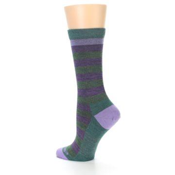 Image of Plum Green Stripe Wool Women's Socks (side-2-back-14)