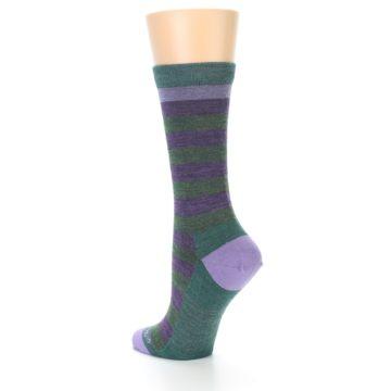 Image of Plum Green Stripe Wool Women's Socks (side-2-back-15)